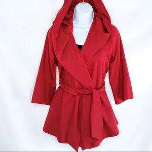 Xtaren red wrap hooded jacket size large